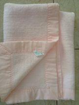 "Carters Vintage Blanket Pink Acrylic With Nylon Trim EUC 49""x36"" - $55.29 CAD"