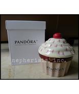NIB Pandora US CERAMIC CUPCAKE CHERRY TOP w/ PI... - $125.00