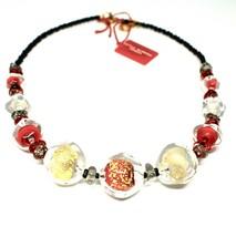 Necklace Antica Murrina Venezia with Murano Glass Red Gold and Black CO8... - $67.27