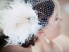 Bridal Feather Fascinator, Bridal Fascinator, Bridal Headpiece, Bridal H... - $75.00