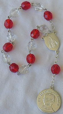 Red and white mini Rosary