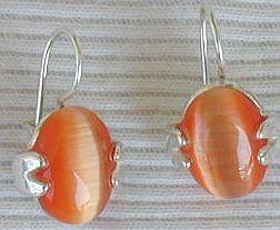 Orange oval earrings