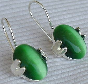 Green oval earrings