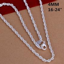 Super Shinning 925 Jewelry Plating Silver Necklace Fashion 2mm/3mm/4mm 1... - $3.99+