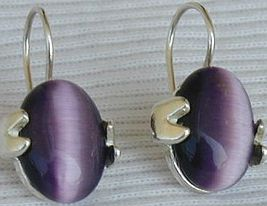 Purple oval earrings - $26.00