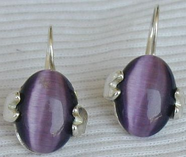 Purple oval earrings