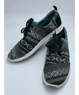 Toms 9.5 Del Ray Black White Stripe Lace Up Lightweight Tennis Shoes - $24.99