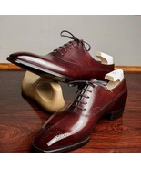 Brogues Toe Genuine Leather Maroon Brown Men Handmade Lace Up Oxford Shoes - $139.90+