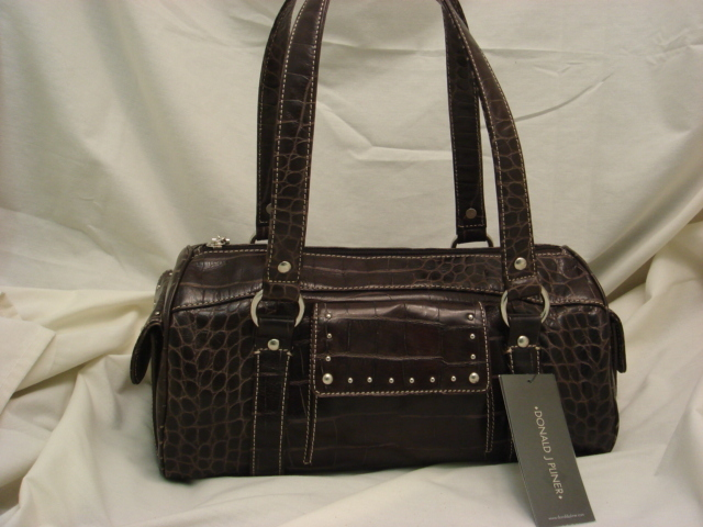 Donald Pliner Croco Embossed Brown Leather $410++