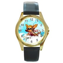 Adorable Baby Reindeer Christmas Gold Tone Watch 9 Othr Styls Charm, Sports, Etc - $25.99
