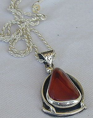 Amber hand made pendant