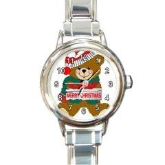 MERRY CHRISTMAS TEDDY BEAR GOLD-TONE WATCH 9 OTHER STYLES STAINLESS SPORT, CHARM