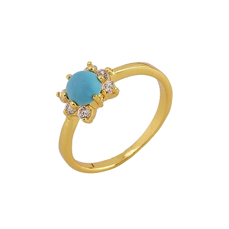 Primary image for PRETTY TURQUOISE AND PREMIUM CZ 18K GOLD PLATED RING SIZE 7