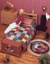 Bedroom Furniture Barbie/Ken Bed Chest Chair Dresser Plastic Canvas PATT... - $8.97