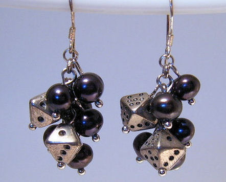 Earrings sterling black cultured pearl with dice