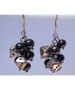 Earrings Sterling Silver Dangle Black Pearls Ti... - $9.99