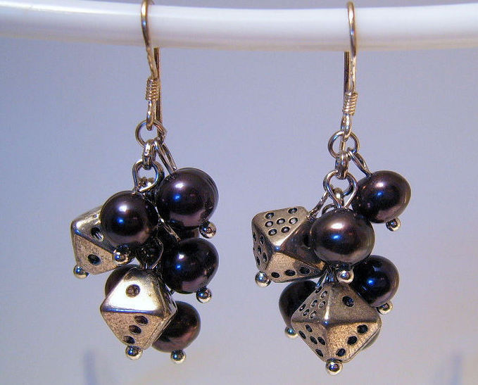 Earrings Sterling Silver Dangle Black Pearls Tiny Dice