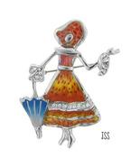 Sweet Girl Twirling an Umbrella Brooch Lapel Pin - $14.00