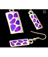 Purple and Silver Rectangle Necklace Earring Set - $13.95