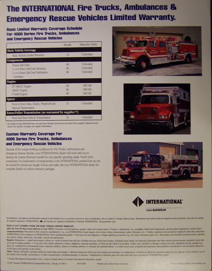 1997 International Fire Trucks, Rescue Vehicles Specifications Sheet