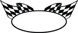 Oval Checkered Decal Graphic Car Truck Semi Hood Cf#1 - $16.19