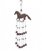 "24.8"" Horse Bell 2-Tier Metal & Glass Wind Chime"