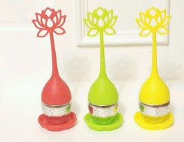 3 Tea Infuser Handle with Steel Ball Silicone Lid Strainer Red Green Yellow - $14.89
