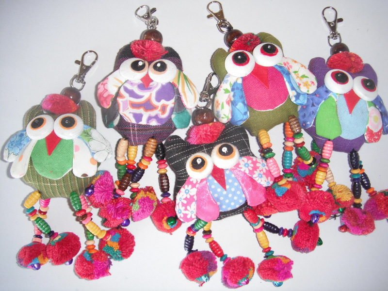 Very beautiful! Small Five Colorful Doll Key Rings Handmade Great Gift
