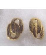 Vintage Gold Pierced Earrings Signed R  - $5.00