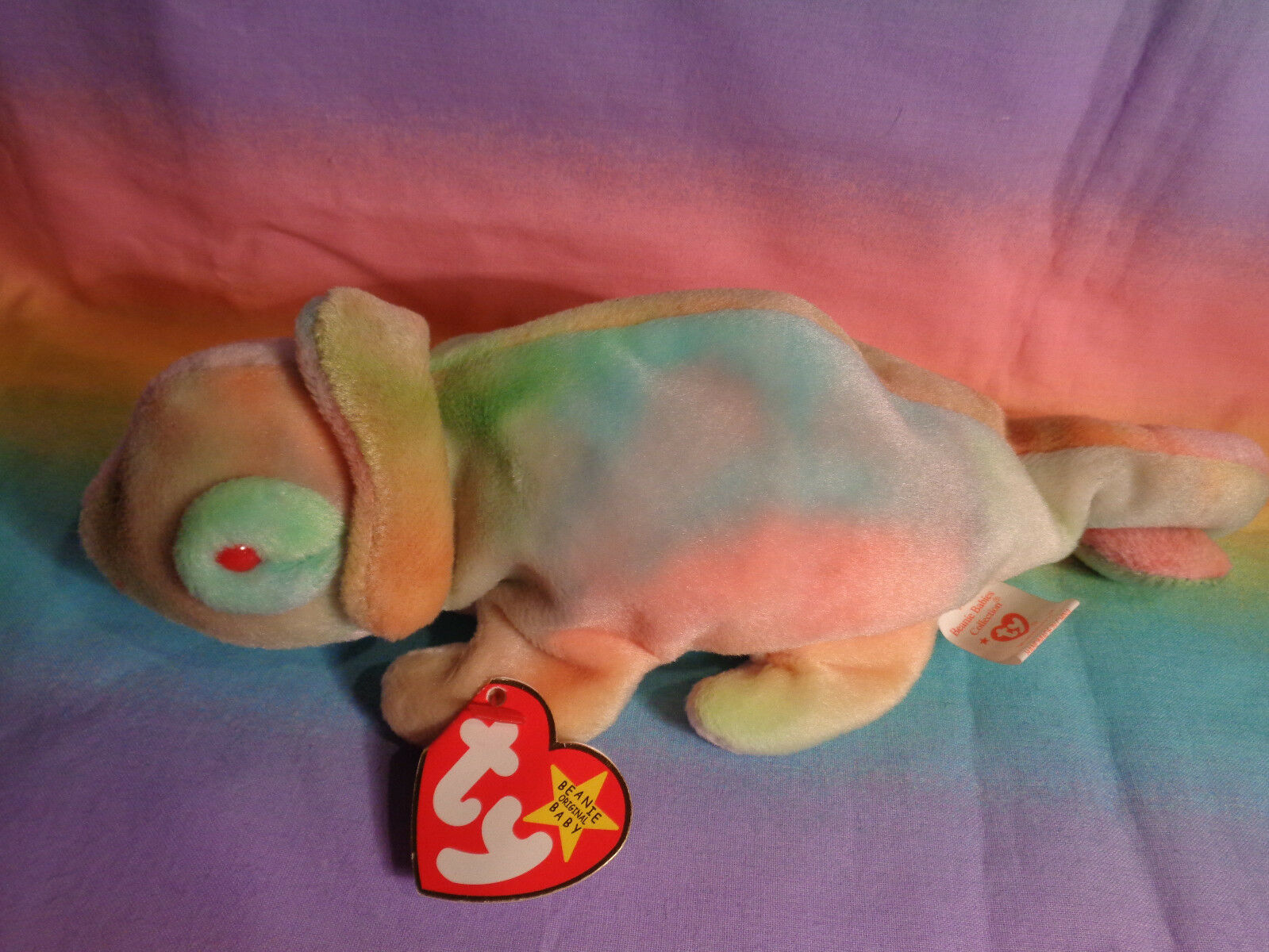 Vintage 1997 Ty Beanie Baby Rainbow Chameleon Bean Bag Plush w/ Tags - as is image 4