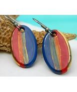 Vintage Porcelain Enamel Earrings Red Blue Gold Oval Pierced - $17.95