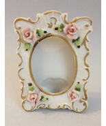 Picture Frame Porcelain Rose Flowers Floral Oval 1 X 2 Photo Desk Table ... - $25.00