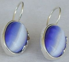 Light Blue oval  earrings F  - $22.00