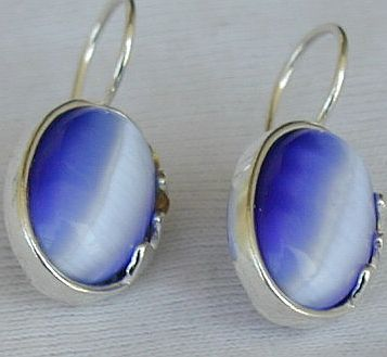 Light Blue oval  earrings F