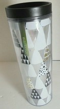 Starbucks 16 Oz Tumbler Christmas Holiday Trees Silver Logo White Black ... - $17.77