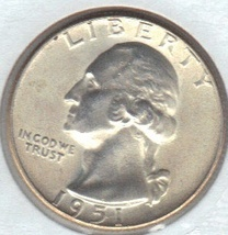 Nice 1951 D  B.U.   Washington Quarter. - $12.00