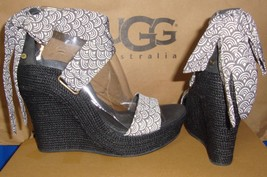 UGG Australia Charcoal GWYNNE Scallop Wedge Heels Sandals Size US 7 NEW ... - $1.428,75 MXN
