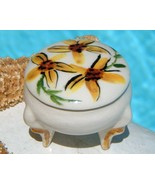 Vintage 3 Leg Trinket Pill Box Porcelain Flowers Yellow Mini - $21.95