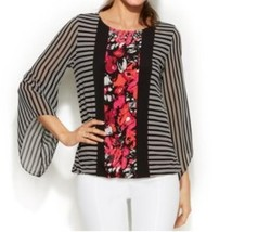 Women's Church Cruise party Occasions Office Abstract Blouson Top Tunic plus 2X - $59.39