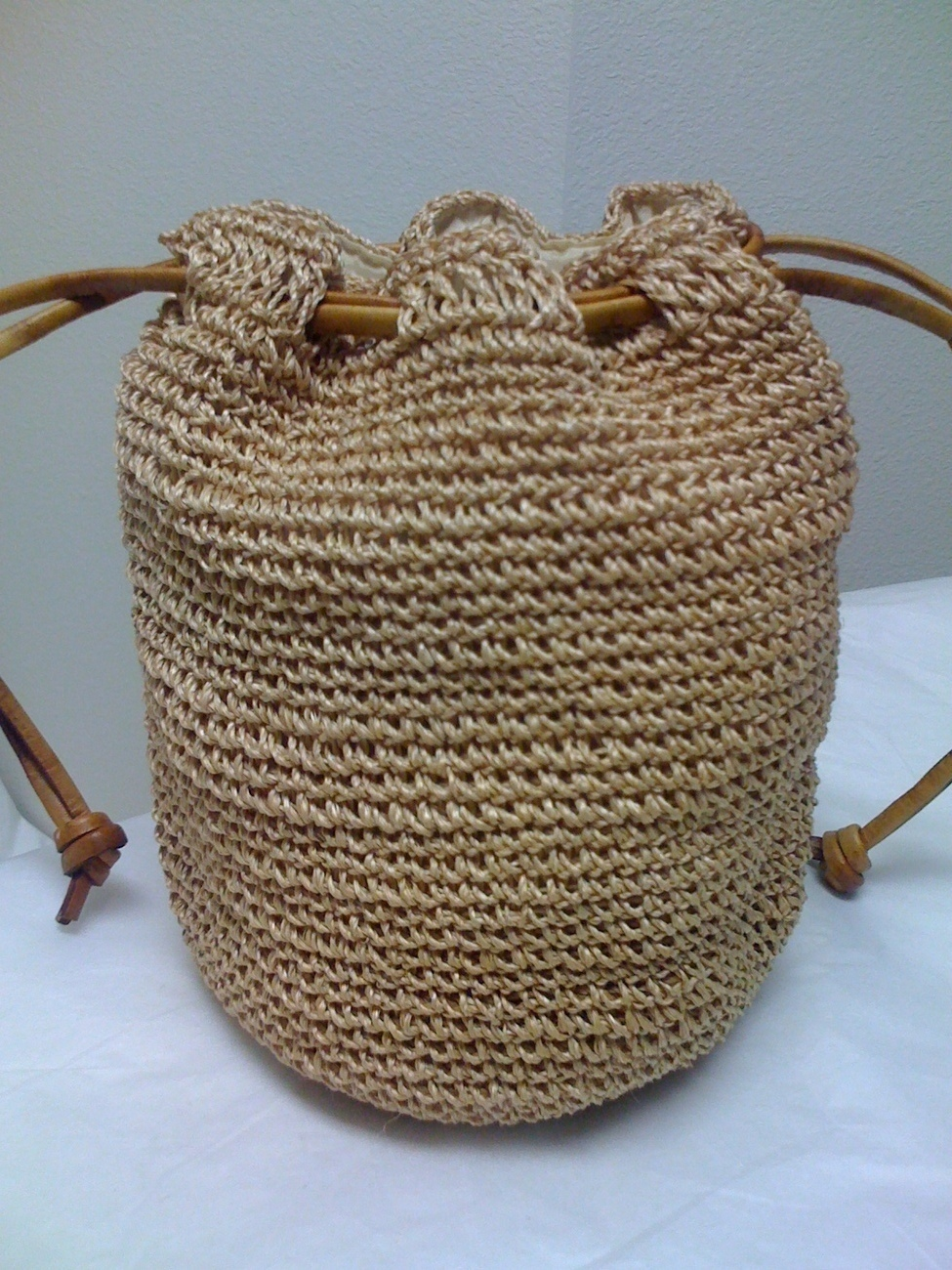 Crochet Drawstring Bag : RAFFIA STRAW CROCHET DRAWSTRING BAG - Handbags & Purses