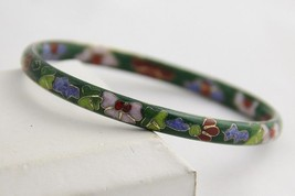 VINTAGEE Jewelry GREEN ENAMEL Cloisonne FLORAL FLOWER BANGLE BRACELET - $18.75