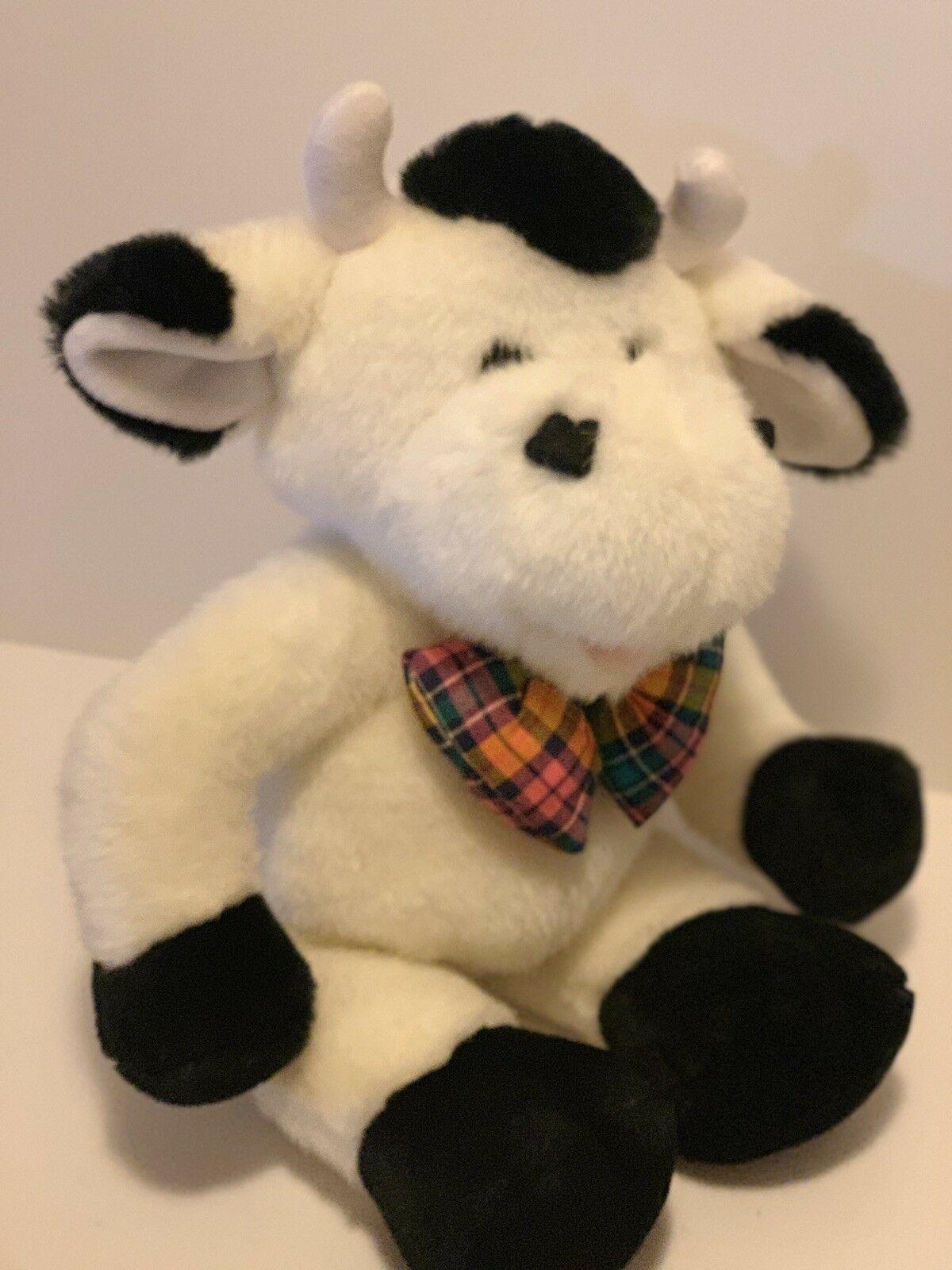 "Commonwealth Plush Cow Black White Stuffed Animal Plaid Bow Tie Soft 14"" Toy"