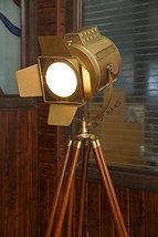 Marine Floor Lamp, Nautical Spot Studio Tripod Floor Lamp - Brass Finish Industr - $185.13