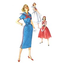 50s Vintage Simplicity Sewing Pattern 2331 Junior Fit Flared Middy Dress... - $18.95