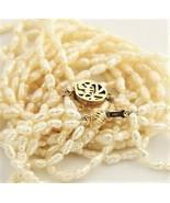 ESTATE VINTAGE Jewelry 14 KT GOLD RICE PEARL MULTI STRAND NECKLACE & BRA... - $95.00
