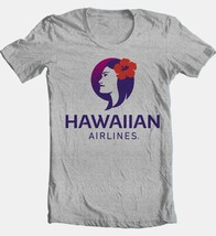 Hawaiian Airlines T-shirt Free Shipping cotton blend graphic Hawaii grey tee image 2