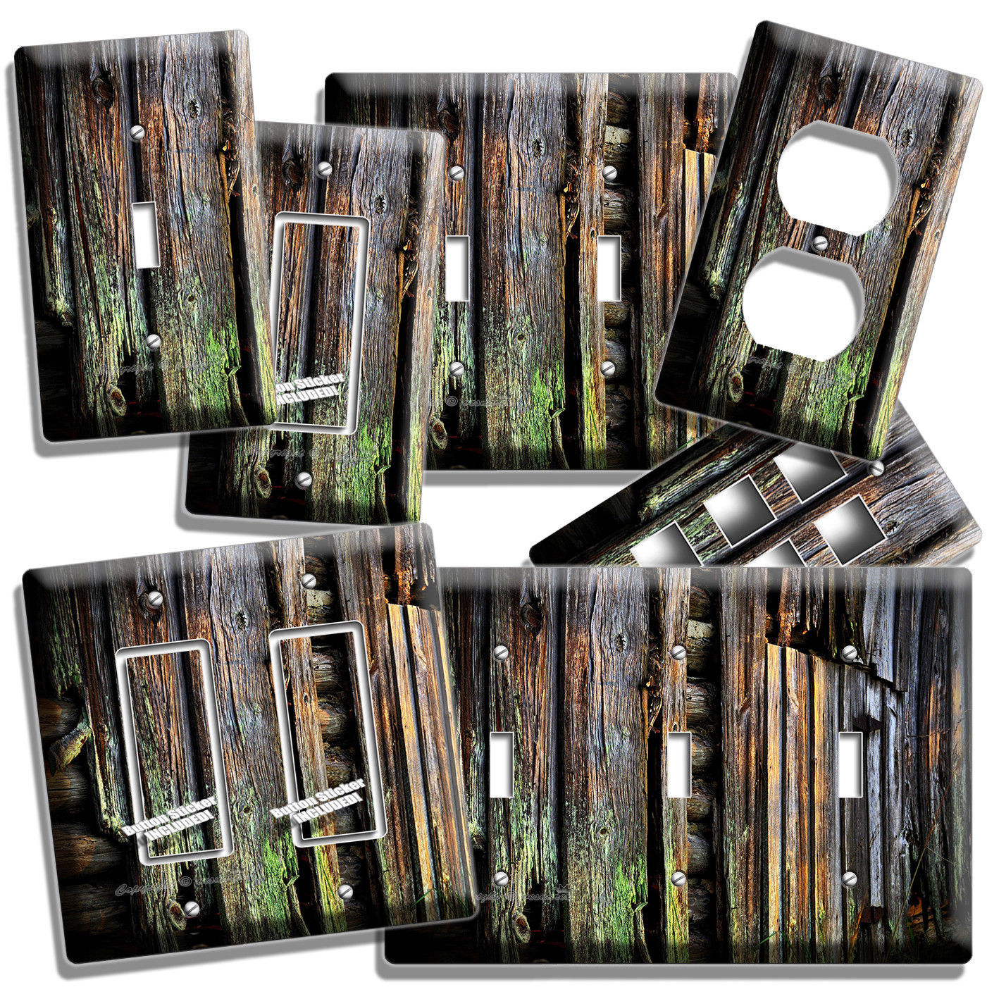 RUSTIC OLD WORN OUT MOSSY OAK WOOD PLANKS LIGHT SWITCH WALL OUTLET PLATES DECOR - $9.99 - $21.99
