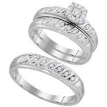 10k White Gold His & Her Round Diamond Cluster Matching Bridal Wedding Ring Set - $559.00