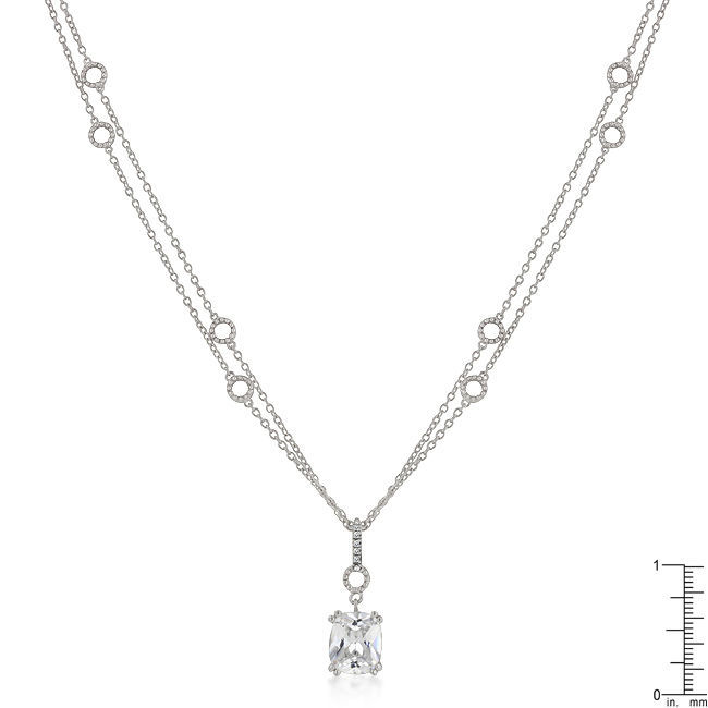 Solitaire Pendant on Double Chain