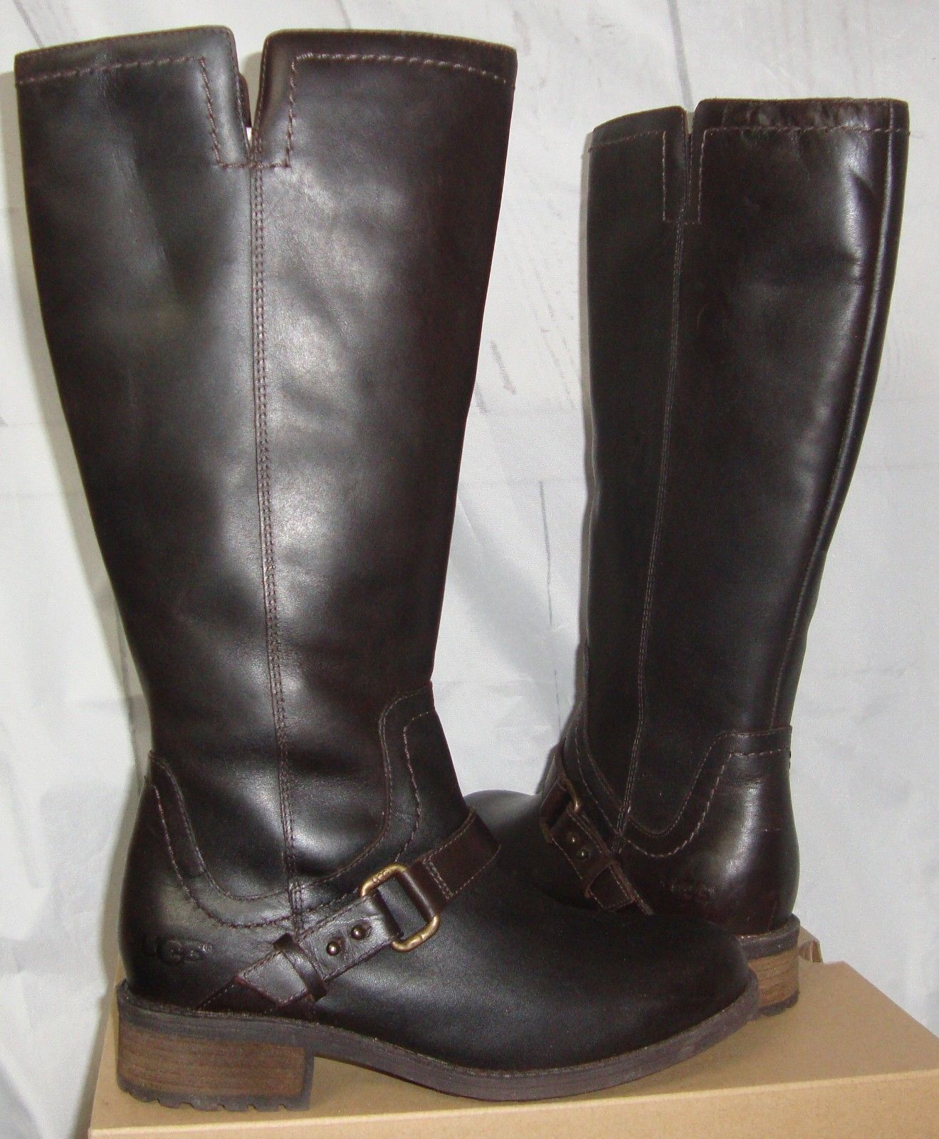Primary image for UGG Australia DAHLEN Stout Tall Leather Fully Lined Boots Size 7.5 NEW 1006043